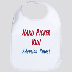 Hand Picked Kid - Adoption Rules in red and bl Bib